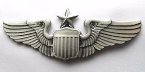 USAF AIR FORCE LARGE SENIOR PILOT WINGS LAPEL PIN BADGE 3 INCHES