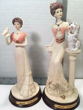 Marlo Collection Figurines Lot of 2 Lady with Bird Lady with Poodle Euc