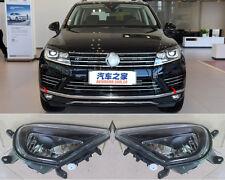 For Volkswagen Touareg 15-18 LED Car Front Hood Fog Light Bumper Lamps Lens Set
