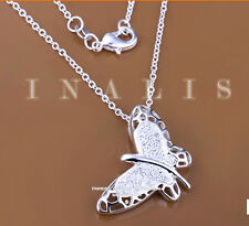 925 Hallmark Sterling Silver CZ Butterfly Pendant Woman Chain Necklace N-A390