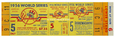 1 1956 WORLD SERIES NEW YORK YANKEES UNUSED FULL TICKET PERFECT game 5 laminated