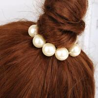 Women Hair Pearl Beads Hair Rope Tie Elastic Hair Ring Ponytail Bow Headdress