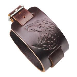 Punk Mens Wide Leather Bracelet Bangle Wristband Adjustable Cuff Wrap Jewelry