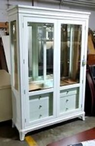 Thomasville Furniture Manuscript Paper White Dining Curio Cabinet