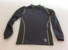 Nike Pro Combat Dri Fit Youth Large Compression Long Sleeve Gray Yellow Shirt