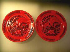 "Chinese Cinnabar Plates Foo Dog Greek Key Lacquer 6"" PAIR"