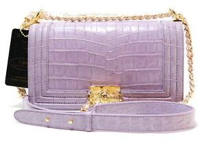 Authentic M Crocodile Belly Skin Women's Handbag Shoulder Bag Boy Shiny Purple