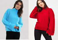 Ladies Warm Turtle Neck Knitted Turn Up Sleeve Chunky Jumper UK Size 8-14
