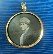 Victorian 9ct Gold Photograph Picture Locket Pendant  -   Mourning Sweetheart