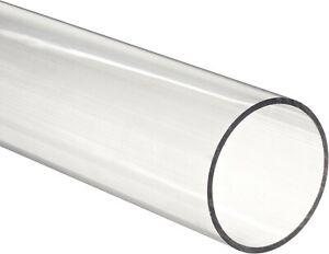 """Clear acrylic Plexiglass  pipe 2"""" 2 3/8"""" OD fits standard 2"""" PVC fittings 1 foot"""
