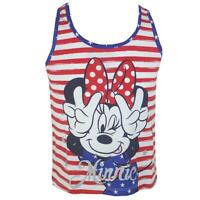 Girls Disney Minnie Mouse Glitter Stars & Stripe Vest Tank Sun Top 3 to 6 Years