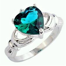 JB2 18K White Gold Plate Green Topaz Claddagh Love Heart Friendship Fashion Ring