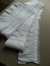 "Antique white cotton flounce - pin tucks and bobbin lace trim - 3.5"" x 116"""