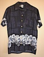 Kennington Vintage Men's Medium Black White Hawaiian Aloha Floral Camp Shirt EUC