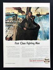 1943 Vintage Print Ad VEEDOL Gas Oil Illustration Art WWII Soldier War Combat