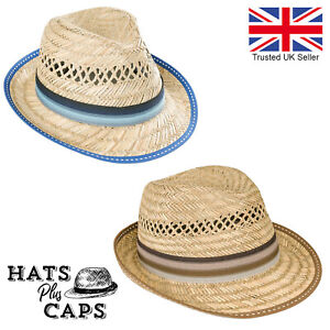 Mens Straw Summer Trilby 100% Natural Straw Festival Holiday Fedora Sun Hat