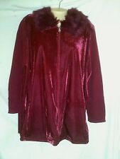 VERANESI RED VELOUR SWEATER / JACKET  WITH FAUX FUR COLLAR SZ L