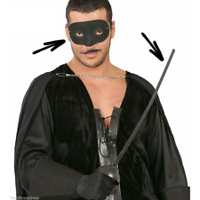 Zorro Mask & Sword Halloween Weapon Fancy Dress Prop Accessory Fencing Costume