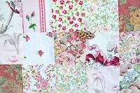 20 Floral Pink Bundle Material Squares Quilting Fabric Patchwork FREE Buttons