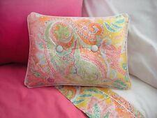 NEW Custom Ralph Lauren Jamaica Pink Paisley Accent Pillow 2 Button White Piping