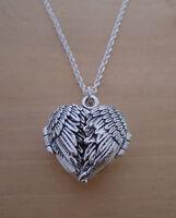 """925 Sterling Silver HEART Locket Angel Wings Pendant on 16"""", 18"""", 20"""", 24"""" Chain"""