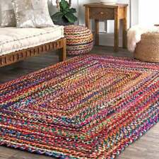 Braided Rectangle Chindi Area/Floor Rug Handmade Colorful Cotton Traditional Mat