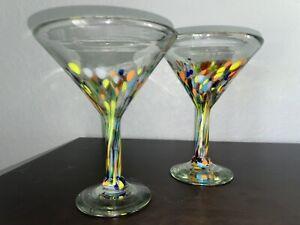 Mexican Hand Blown Confetti Set of 2 Martini Glasses