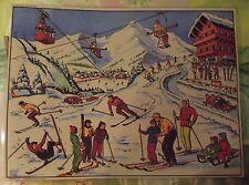 Objet de Métier Affiche Scolaire 42x30 Station de Sport d'Hiver Ski Luge Chalet