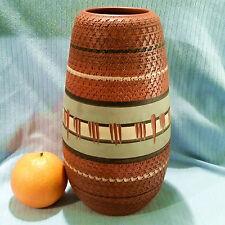 AKRU Krupp Klinker Vase Kerbschnitt dekor 60er Jahre 91/25 sgraffito abstrakt