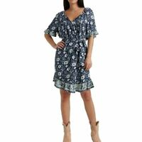LUCKY BRAND NEW Women's Navy Multi Ruffled Floral Tie Waist Shift Dress L TEDO