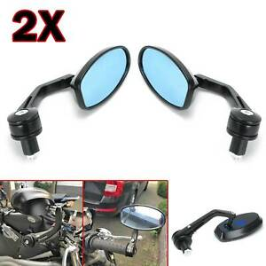 """Universal Motorcycle bike Bar End Rear Side View Mirrors Cafe Racer Black 7/8"""""""