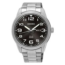 NEW Seiko Gents Solar Stainless Steel Watch  SNE471P1