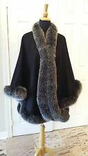 Black Cashmere cape wrap with Black Snow Top Silver Fox Fur