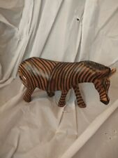 Africa Art Vintage Hand Carved Wooden Wood Zebra Painted Solid Hard 4�H X 7� L K