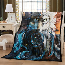 3D Wolf Blanket Animal Dreamcatcher Warm Soft Sofa Bed Chair Luxury Soild Throw