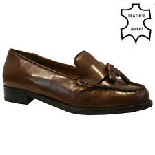 91116f5e2c2 WOMENS LADIES REAL LEATHER FLAT CASUAL OFFICE WORK FRINGE TASSEL LOAFERS  SHOES