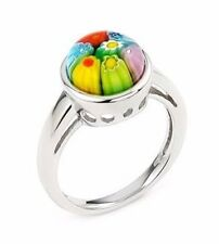 ALAN K. MULTICOLOR MURANO GLASS 10MM ROUND CABOCHON & STERLING SILVER RING, SZ 6