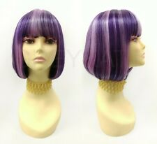 Pageboy Bob Wig Purple with Streaks Short Straight Bangs Anime Cosplay