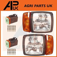 PAIR L&R JCB Telehandler Loader Loadall Headlights Head Light Headlamps & Plugs