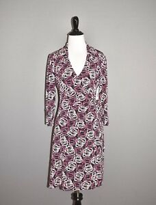 LAUNDRY BY DESIGN NEW $128 Geo Print Wrap Dress V Neck 3/4 Sleeves XS