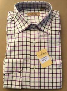 Gurteen Mens Tattersall Violet check shirt,100% Cotton