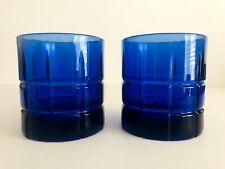 Set of 2 Anchor Hocking Tartan Cobalt Blue Old Fashioned Glasses