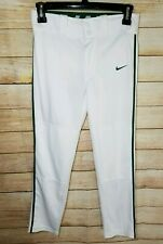 New Nike Boy's Baseball Pants Swingman White Green Piping Stripe Size Small