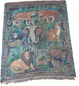 American Weaver's Jungle Animal Throw Blanket Wall Tapestry 58x48