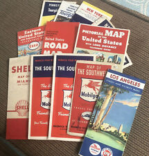 New ListingLarge Lot Of Vintage Maps 13, Pa, Ny, Miami, La, Southwest 50-60's