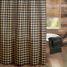 **Country Primitive** Burlap Black Check Shower Curtain
