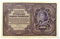 🍀🇵🇱 POLAND. 1000 Mark 1919 Miłczak 29b Uncirculated (UNC). I .Ser. DB !!!