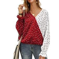 Women V-neck Polka Dot Long Sleeve Casual Spring Color-block Beach Blouse Tops
