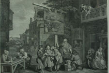 GRANDE GRAVURE 18 THC  ÉLECTION ANGLAISE  HOGARTH ENGRAVING Canvassing for Votes
