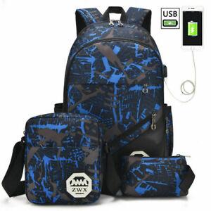 Boys and Girls School Bags Teen Back 3 Piece Set Pencil Case Satchel School Bag